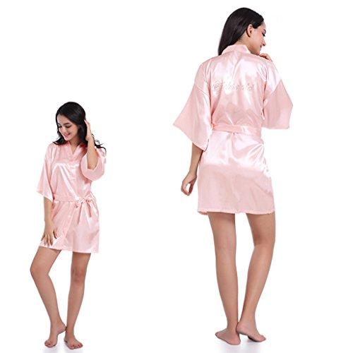 Sharplace Pigiama Da Sposa Vestaglie Kimono Di Seta Da Notte Scollo V Regalo Di Matrimonio Cristallo Su Schiena Rosa