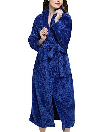Unisex Adulto Luxury Accappatoio Vestaglia con Cintura Super Soft Dressing Robe Abiti Blu Zaffiro