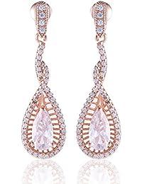 GULICX Plaqué Or Rose Bijoux Mariage Luxueux Avec Zircon Cubique Transparent Goutte d'eau Boucles d'oreilles Pendantes Femme CZ