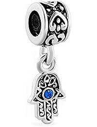 Uniqueen Abalorio con mano de Fátima y ojo azul, compatible con la pulsera Pandora