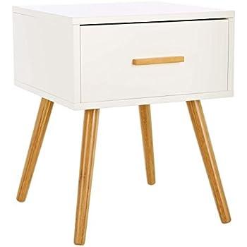 LOMOS® No.4 Comodino in legno di colore bianco con un cassetto