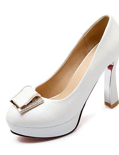 WSS 2016 Chaussures Femme-Bureau & Travail / Décontracté-Bleu / Rose / Blanc-Gros Talon-Talons / Bout Arrondi-Talons-Polyuréthane white-us8 / eu39 / uk6 / cn39