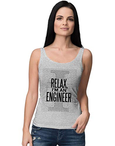 BLAK TEE Relax I'm Engineer Blueprint Slogan Damen Tank Top S (Engine Tank Thomas Shirt)