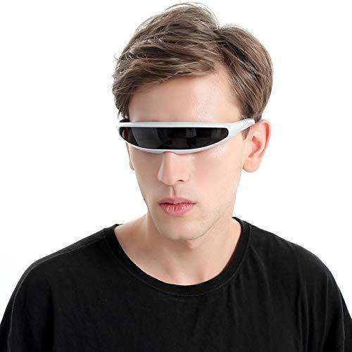 WWVAVA Party Brille Futuristische Narrow Cyclops Sonnenbrille UV400 Persönlichkeit verspiegelte Linse Kostüm Brillen Brillen Funny Party Maskendekoration, weiß - Schwarze Linse