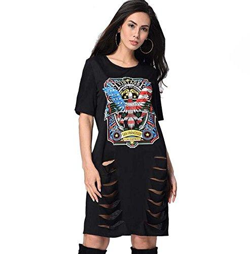 reizvolles Loch-T-Shirt Kleid-beiläufiger Rundhals Kurzhülse Druck lose Kleid Punk Style Eu Größe S-XXL (Color : D, Größe : S) ()