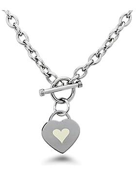 Edelstahl Herz Symbol mit Gravur Herz Charme Armband und Halskette
