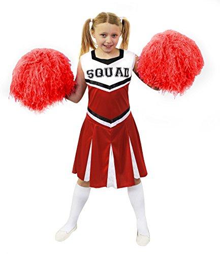 ILOVEFANCYDRESS Kinder Cheerleader KOSTÜM VERKLEIDUNG VERSCHIEDENEN GRÖSSEN +MIT ODER Pompoms= Aufschrift-Squad=2 Pompoms+Kleid-ROT/SMALL