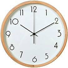 YHEGV Le Mode Moderne Silence Horloge Murale Cadre en Bois Salon Chambre à Coucher Horloge Simple et Minimaliste Cuisine & Maison