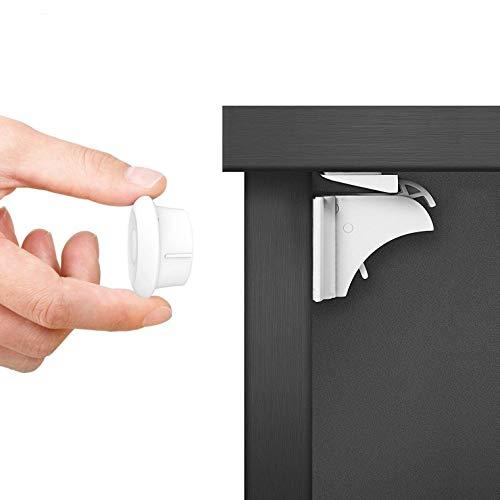 Dokon chiusure sicurezza bambini (20 serrature + 3 chiavi) bambino serrature magnetiche di sicurezza per armadietto, cassetto, armadio, non necessitano attrezzi, con forte adesivo