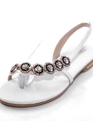 UWSZZ Die Sandalen elegante Comfort Schuhe Frau - Sandalen - Büro und Arbeit/formellen - Praktisch/Toe Ring - Kunstleder - Schwarz/Weiß White