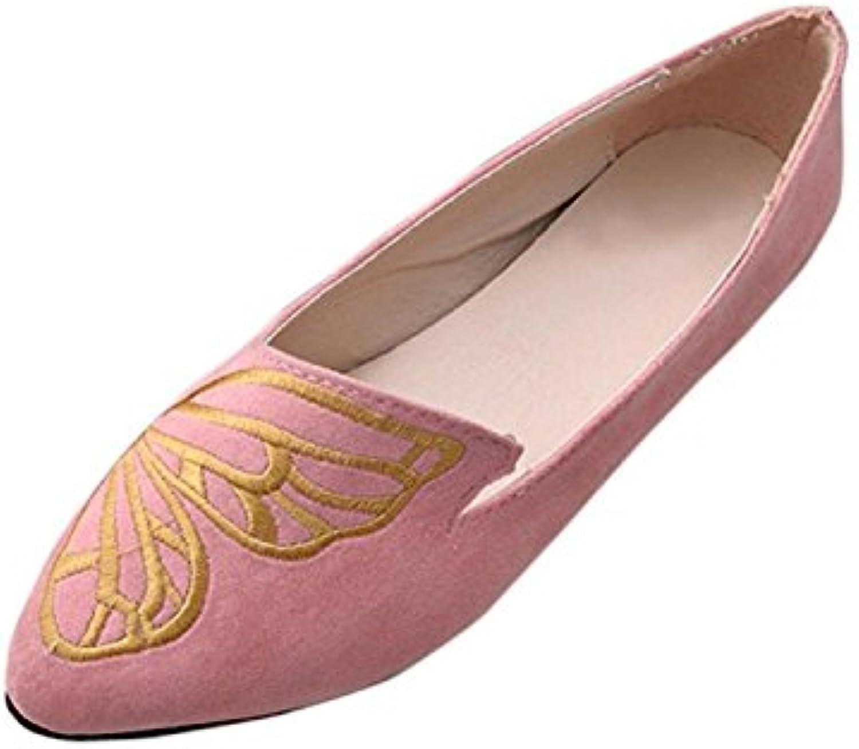 huateng Zapatos de Bordado de Mariposa Zapatos Nuevos de Punta Zapatos Individuales Zapatos de Tela Zapatos de...
