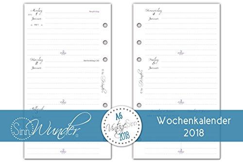 SinnWunder Kalendereinlagen 2018, A6 ( 9,6cm x 17,2cm ), Wochenkalender, verschiedene Designs, 1 Woche 2 Seiten, Inlay für Planer - Design VintageSinn