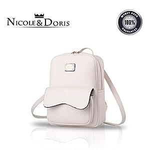 Nicole&Doris delle nuove donne di corsa della spalla di moda in pelle borsa zaino borsa Satchel PU bianca