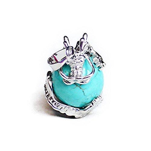 aituo natürlicher Amethyst Trommelstein Edelstein baumeln Drachen um Münze Charm Bead Anhänger passend für DIY Anhänger türkis Drache Charm Bead