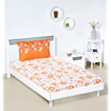 Amazon Brand - Solimo Jasmine Zest 144 TC 100% Cotton Single Bedsheet with 1 Pillow Cover, Orange