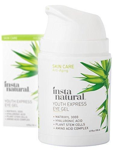 InstaNatural Crema de Ojos con ácido hialurónico, aceite orgánico de jojoba, MSM, péptidos y más. Lo mejor para arrugas, ojeras, hinchazones y bolsas. Gel antiedad para hombre y mujer – 50 ml