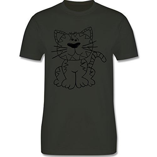 Katzen - Katze - Herren Premium T-Shirt Army Grün