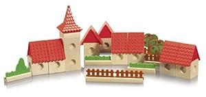 Eichhorn 100004992 - Ciudad de Madera para Pista de Bolas (Incluye Bloques de construcción y canicas, 34 Piezas) (Simba Dickie)