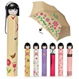 Folding Umbrella Cute Japanese Doll Kawaii Kimono Girl With Case Unique Gift -