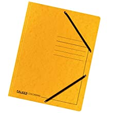 Original Falken Pack of 25 Premium Folders Made in Germany Extra Strong Colorspan Cardboard with 3 Inner Flaps and 2 Elastic Bands DIN A4 Yellow Juris Folder for Office and School