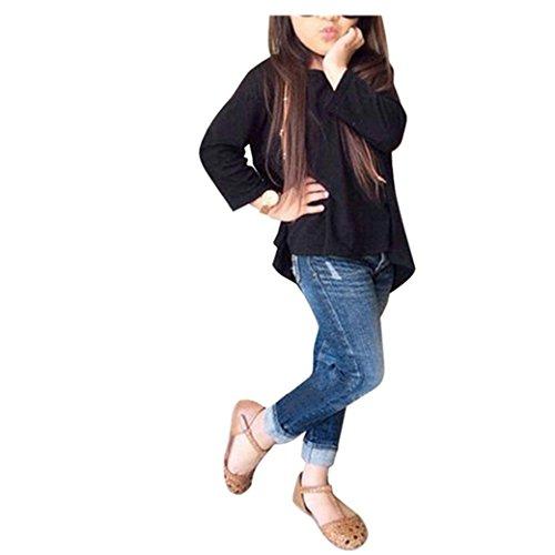 Kleinkind Langarm Denim-shirt (Bekleidung Longra Kleinkind Baby Kinder Mädchen Outfit Kleidung Langarm T-shirt Tops + Jeans Hosen 1Set (2-7Jahre) (110CM 4-5Jahre, Black))