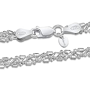 Amberta Gioielli - Bracciale - Catenina Argento Sterling 925 - Modello Sfere Perline Diamantate - Larghezza 3.5 mm - 18cm