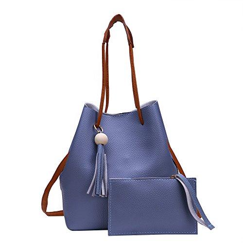 WTUS Damen Bild Gezeitenbeutel PU-Handtaschen Frauen Mode Lässig Stadtstreicherin Tragetasche Handgelenktasche Beuteltote Blau