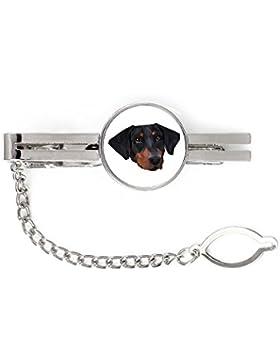 Dobermann, Krawatte, Clip mit einem Bild von einem Hund, geometrisch