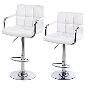 Songmics 2 x faux leather breakfast kitchen bar stools for Exclusive barhocker
