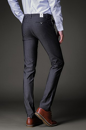 Harrms Herren Anzughose Slim fit Straight Leg Business Hose Pants Kariert Festlich Grau