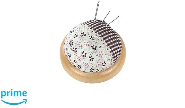 Nadelkissen in rosa mit hellem Holzteller /Ø 7 cm florales Vintage
