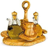 ARTE LEGNO SPELLO SRL OLIERA LUSSO: set condimento olio aceto sale pepe in legno di olivo Set 4 pz