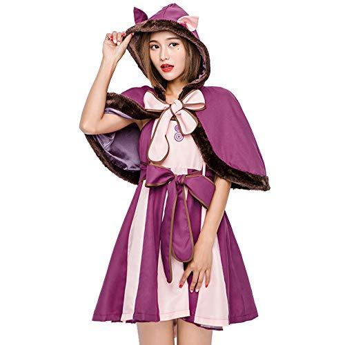 PIAOL Alice Im Wunderland Lila Schmollen Katze Cosplay Kostüm Halloween Smiley Katze Fantasy Katze Erwachsenen Diffuse Kleidung,Purple-L