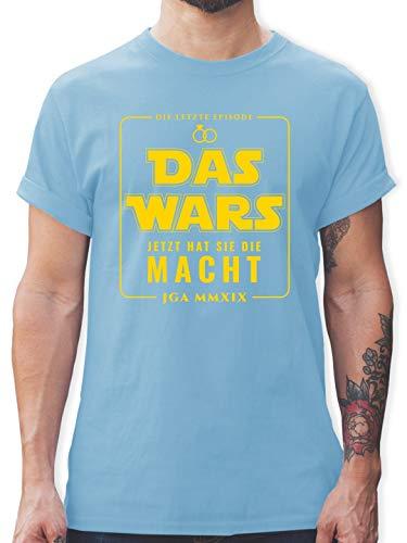 hied - Das Wars JGA 2019 Jetzt hat sie die Macht - S - Hellblau - L190 - Herren T-Shirt und Männer Tshirt ()