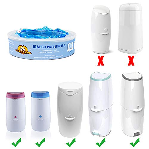 LIONPAPA Nappy Disposal Refills for Angelcare Nappy Disposal Systems (Pack of 8)