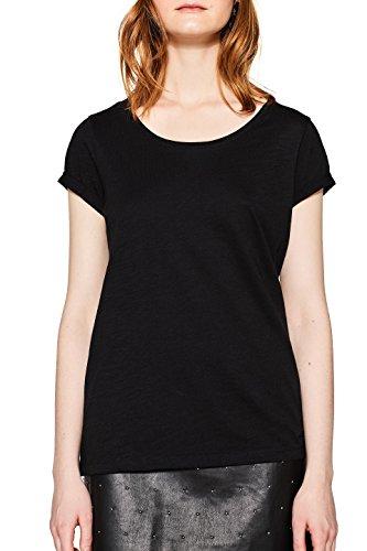 edc by ESPRIT Damen T-Shirt 998CC1K804, Schwarz (Black 001), Large (Schlichtes Schwarzes Shirt)