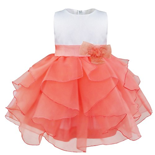 YiZYiF Baby Mädchen Kleid Schleife Bowknot Blumenmädchenkleid Gr. 68-104 Hochzeit Festlich Kleinkind (68 (Herstellergröße:60), Blumen Wassermelonen (Halloween Blumen Kostüm Mädchen)