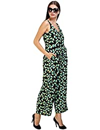 GLAMFAB Women's Green And Black Printed Wide Leg Jumpsuit