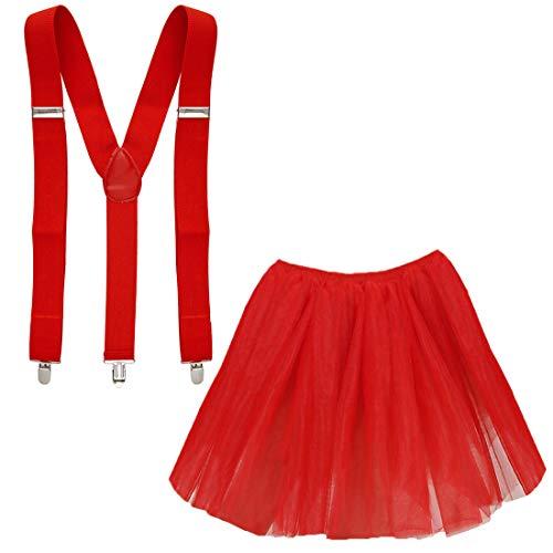 Kostüm Tutu Erdbeer - Goldschmidt Kostüme Tüllrock und Hosenträger Set Verkleidung Kostüm Karneval Petticoat Tutu (rot)