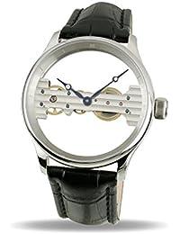 """Davis-1700 - Reloj Hombre Esqueleto """"Baguette"""" Mecánico, Correa de Piel Negra"""