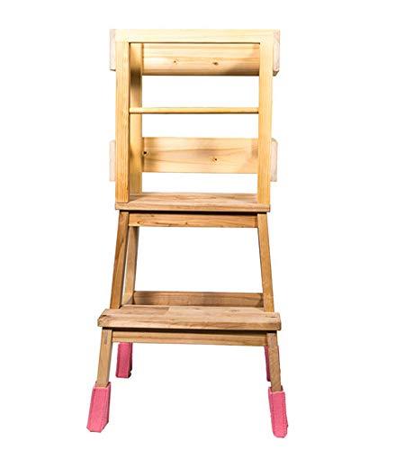 Deskiturm Lernturm Learning Tower by 4 Filzsocken für die Turmfüße - Lerntower Learning Tower Küchenhilfe Montessori (Rosa)