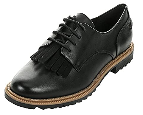 Clarks Damen Griffin Mabel Brogue Schnürhalbschuhe, Schwarz (Black Leather), 39 EU