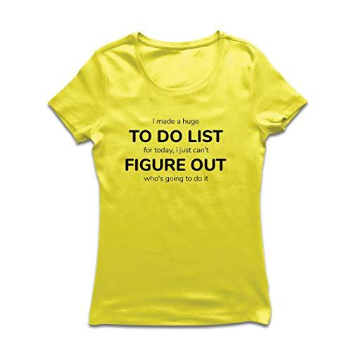 lepni.me Frauen T-Shirt Hergestellt EIN to-Do-Liste Lustiges Geschenk mit Sprüchen (Medium Gelb Mehrfarben)