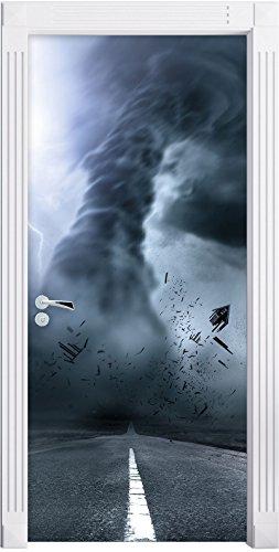 uragano pericolose su strada come Murale, Formato: 200x90cm, telaio della porta, adesivi porta, porta decorazione, autoadesivi del