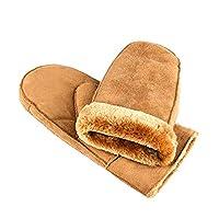 Winter Warm Men Mittens/Gloves,Meiyaa Thick Soft Fake Fur Outside Unisex Ski Gloves. (Light tan)