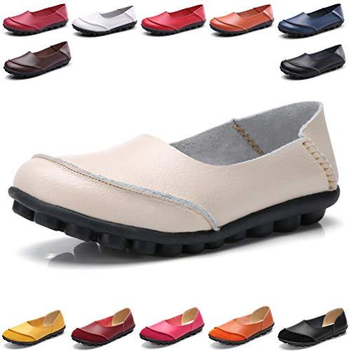 Hishoes Damen Mokassin Bootsschuhe Leder Loafers Fahren Flache Schuhe Halbschuhe Slippers Erbsenschuhe, 42 EU=Etikettengröße 42 (Loafer Mokassins Für Frauen)