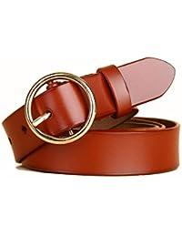 YUEER Mujer Cinturón Piel De Vacuno Moda Cinturones Ajustable Cintura Retro  Ropa para Jeans Pantalones Cortos 86f18b664ec8