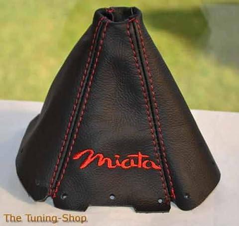 Für Mazda MX-5Mk11989–1997Schaltsack schwarz Leder rot Miata Edition Stickerei (Modellauto Mazda Mx 5)