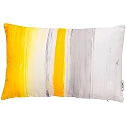 B&H Cojín con Diseño Rayas Amarillo Y Gris, Algodón,, Individual, 50x30x3 cm