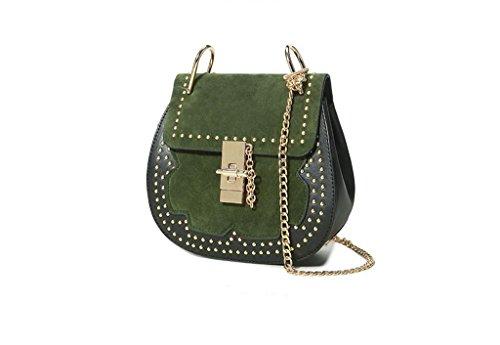 borse a catena, spalla, messaggero, sacchetto di maiale rivetti, PU opaco pacchetto green